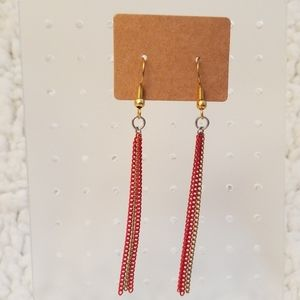 Red And Gold Chainmail Earrings